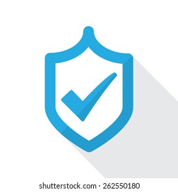 Shield with check mark. Flat icon design. Approved and trusted product concept.