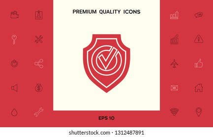 Shield with Check mark icon. Graphic elements for your design