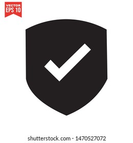 Shield Check Mark Icon template color editable. symbol vector sign isolated on white background. Simple logo vector illustration for graphic and web design.