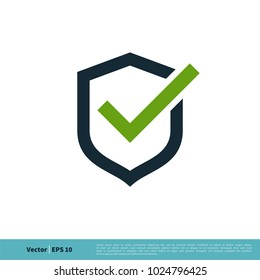 Shield and Check Mark Icon Vector Logo Template