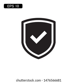 shield with check mark icon vector illustration logo template