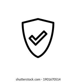 Shield check mark  icon vector. Protection approve sign. Safe icon vector