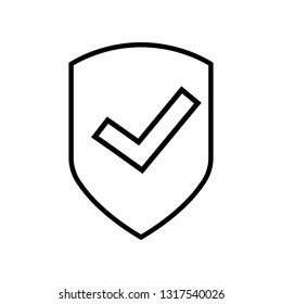 Shield with check mark line icon Quality is confirmed, logo isolated on white background