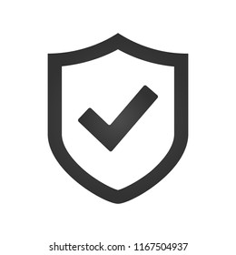 Shield check mark logo icon design template, vector illustration.