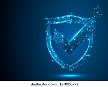 Shield with Check mark. Network security, safety, privacy concept. Neon shield protection abstract low poly, polygonal, wireframe image. Vector 3d shield illustration on blue background