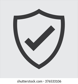 Shield with checkmark symbol for download. Vector icon
