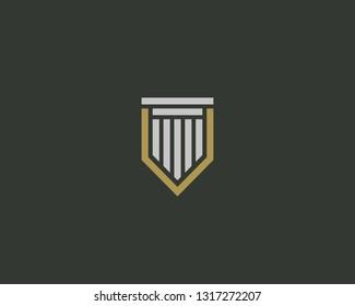 Shield column vector logo. Protection law idea logotype.