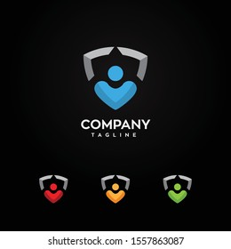 Shield combined with a man and heart logo vector illustration