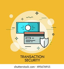Shield, credit card and banknote. Transaction and payment security concept, money protection technology icon. Vector illustration in thin line style for website, banner, header, logo, banking service