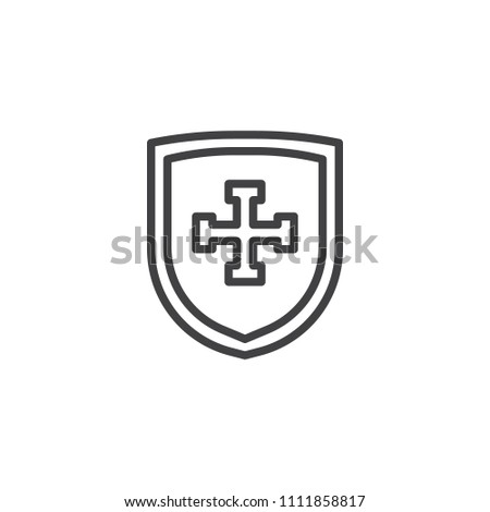 Shield Cross Outline Icon Linear Style Stock Vector Royalty Free