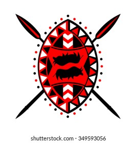 Shield and crossed spears in the African style.