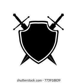 shield with crossed swords. Vector illustration isolated on white background, Military sword  ancient weapon design silhouette, European straight swords, vector illustration.