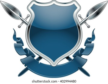 shield with crossing spears and banner