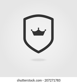 Shield crown modern icon.