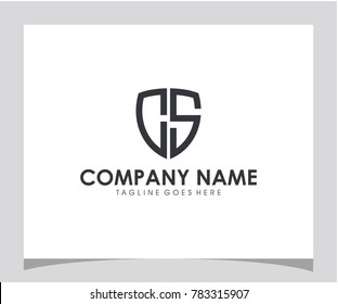 Shield CS initial icon letter logo vector eps 10