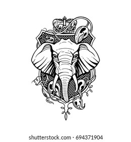 Shield with elephant, crown, exotic plants. Vector graphics.