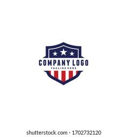 Shield Emblem Sport Team, Patriotic, USA Flag, Icon Vector Logo Design Template Illustration