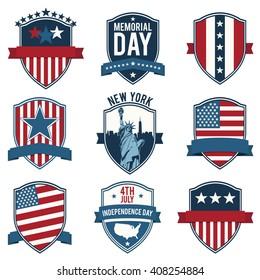Shield. Emblem. US National symbols. Set of vector icons, stamps, seals, banners, labels, logos, badges. Vector illustration.