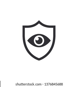 Shield with eyes. Eye protection. Safety sign eye protection. Preservation vision. Doctor oculist. Vector illustration. Color easy to edit. Transparent background