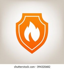 Shield with fire sign - protection icon.