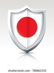 Shield with Flag of Japan - vector illustration