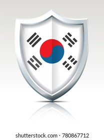 Shield with Flag of South Korea - vector illustration
