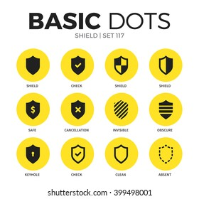 Shield flat icons set with safe, clean and check isolated vector illustration