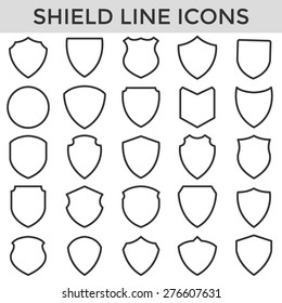 shield frame line symbol icons set vector