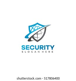 Shield and globe shape. Security logo template. vector eps.10