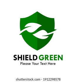 Shield green logo template illustration. there are shield with leaf