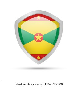 Shield with Grenada flag on white background. Vector illustration.