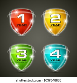 Shield with guarantee one, two, three, four year icon. Warranty 1 2 3 4 year Label obligations. Safeguard shield sign. Protect promise reliability badge. Security guaranteed vector illustration