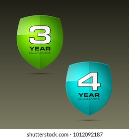 Shield with guarantee three & four year icon. Warranty 3 & 4 year Label obligations. Safeguard shield sign. Protect promise reliability badge. Security guaranteed vector illustration