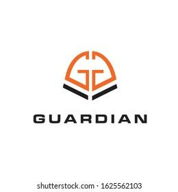 shield guardian letter gg logo template