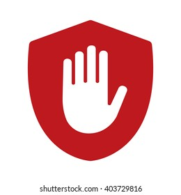 Shield with hand block / adblock flat vector icon for apps and websites
