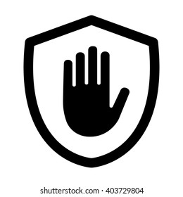 Shield with hand block / adblock line art vector icon for apps and websites