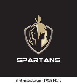 shield and helmet of the Spartan warrior symbol, emblem. Spartan helmet logo, vector illustration of spartan shield and helm, Sparta Spartan Roman Helmet Armor Warrior logo design inspiration