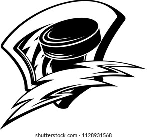 Shield with a hockey puck zooming through and a stylized lightenting bolt.