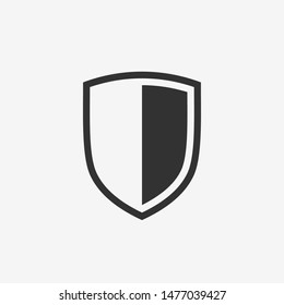 Shield icon. Black security emblem. Pictogram for the concepts of security and protection. Isolated vector illustration on white background.