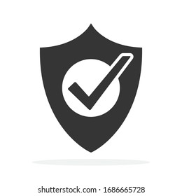 Shield icon with check mark symbol. Vector Shield icon. Black security icon. Concept of security
