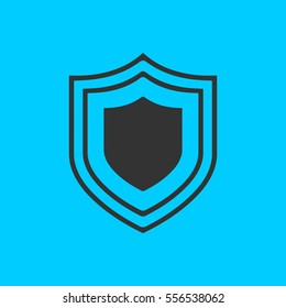 Shield icon flat. Simple vector black pictogram on blue background
