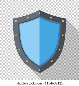 Shield icon in flat style with long shadow on transparent background