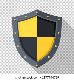 Shield icon in flat style with a long shadow on a transparent background
