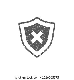 Shield icon in grunge texture. Vintage style vector illustration.