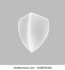 Shield icon isolated on transparent background. White protection emblem. Safety badge. Vector glass defense sign for your advertising design.