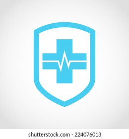 Shield icon with Medical pharmacy Isolated on White Background