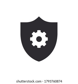 Shield icon. Security vector icon. Protection icon. Shield with cogwheel. Settings. Active safety. Guard badge. Cogwheel sign. Service symbol. Gear vector icon. Options sign. Protection settings.