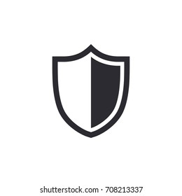 Shield icon. Security vector icon. Protection icon. Shield vector icon. Safety system. Protection activated. Active safety. Logo template. Virus protection. Guard badge. Metal shield. Guard symbol.