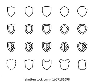 Shield icon set. Collection of high quality outline web pictograms in modern flat style. Black protect symbol for web design and mobile app on white background. Line logo EPS10