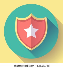 shield icon with star - protection symbol. Flat design style